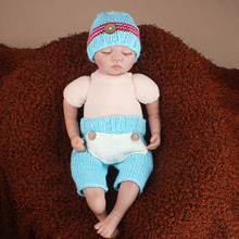 Blue Red Button Baby Beanie Hat and Pants Set Newborn Photography Props Knitted Costume Baby Shower Gift 0-3M H260(China)