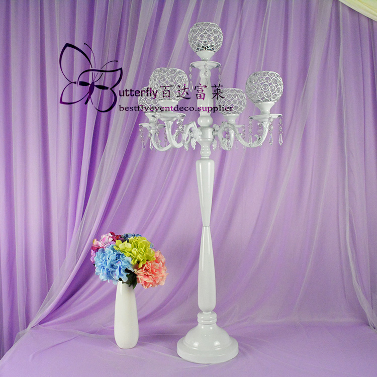 5 Arm white Crystal Globe Candelabra 100cm Tall-