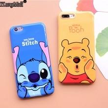 Stitch Coque Apple iPhone 7 6 6s Plus Case IMD TPU Cover Fundas iPhone 8 6 Plus X Winnie Pooh Mickey Minnie Daisy Donald