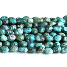 "Natural Genuine Green Blue Africa Turquois Nugget Free Form Fillet Irregular Pebble Beads Fit Jewelry 15"" 05251(China)"