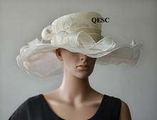 CREAM IVROY wide brim Church Bridal Sinamay Hat for Kentucky Derby,Ascot.(China)