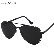 Lukoko UV400 Protection Sunglasses Men Luxury Brand Oculos Male Oversized Black Aviator Sunglasses Men Aviador Gunes Gozlugu UV