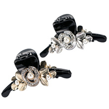 Golden Hair Clip Brand Acrylic floar hair crab clamp Geometric Hair Claw Black colors Girl hair accessories women simple