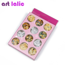 12 Boxes/Set Nail Foil Shiny Nail Sparkle Gold Silver Bronze Nail Art Glitter Stickers DIY Decoration