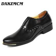 DXKZMCM Business Men Oxfords designer Formal mens Dress Shoes luxury wedding shoes men Flats office For male(China)