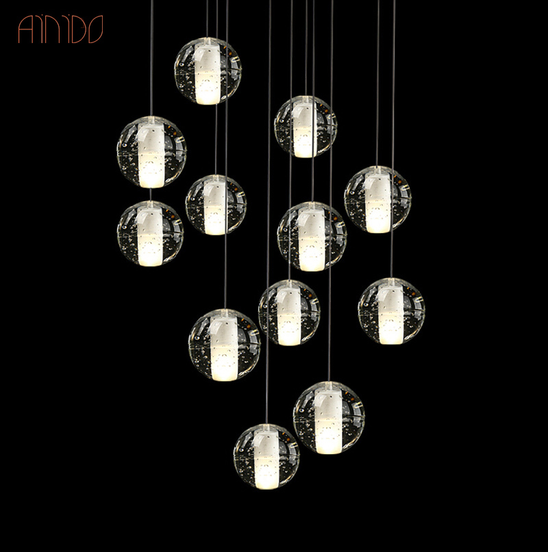 Modern LED Crystal Pendant Lights Fixtures for Dining Room Magic Ball Loft Stair Crystal Light Meteor Shower Rain Pendant Lamp<br>