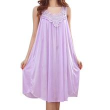 Wholesale 2017 Summer Imitation Silk Sexy Spaghetti Strap Nightgown Lace Appliques Hem Home Wear Solid Nightgowns for Women(China)