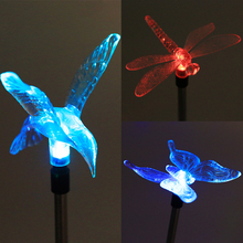 Multicolor LED Solar Light Outdoor Dragonfly/Butterfly/Bird Lawn Lamps Solar LED Path Light Outdoor Garden Lawn Landscape Lamp