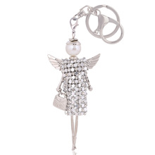 free shipping cute doll angel wings crystal key chain rhinestone keyring women bag charm keychain car key ring pendant wholesale(China)