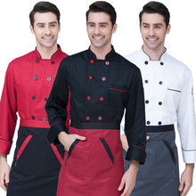 New Chef's Long-sleeved Breathable Outfit Summer Wear Work Clothes Men and Women Overalls Coats Hotel Chef Black Jacket Uniform(China)