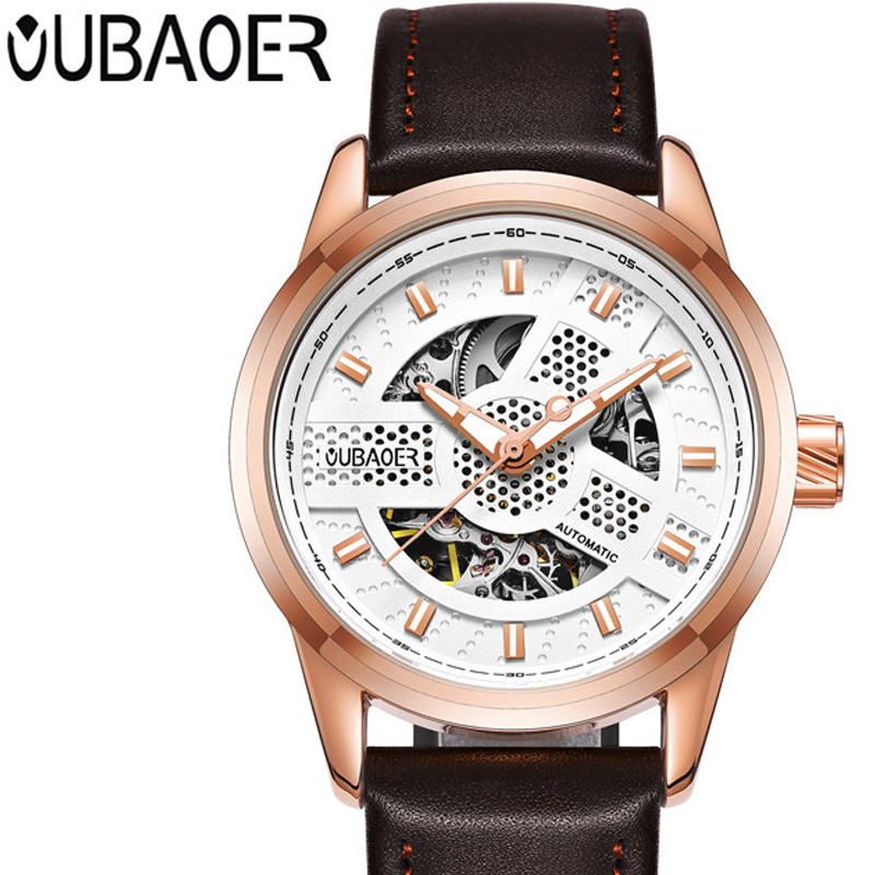 OUBAOER Stainless Steel Men Watches Top Brand Luxury Mechanical Watch Male Business Leather Watchband Wristwatch Mens Clock<br>
