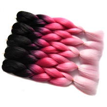 Full Star 2pcs Black Ombre Pink Hair 100g/piece Yaki Braiding Hair High Temperature Fiber Synthetic Jumbo Box Braids Pink Hair