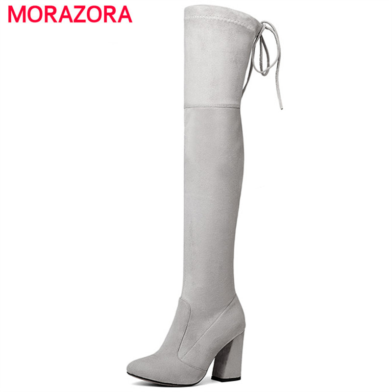 MORAZORA Stretch women boots Faux Suede solid shoes woman over the knee boots fashion elegant high heels thigh high boots<br>
