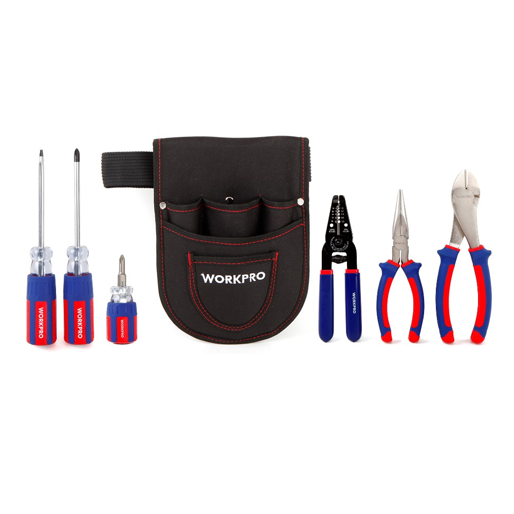 WORKPRO 7PC Electrician Tool Set AWG wire Stripper Steel Long Nose Plier Diagonal Wire Cutting Plier Stubby Screwdrivers<br>