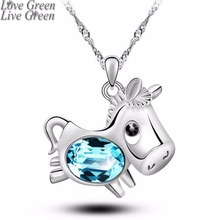 2017 new Lucky animal Austrian crystal pendant necklace fashion accessories cute Horse personalized party to girlfriends 5081(China)