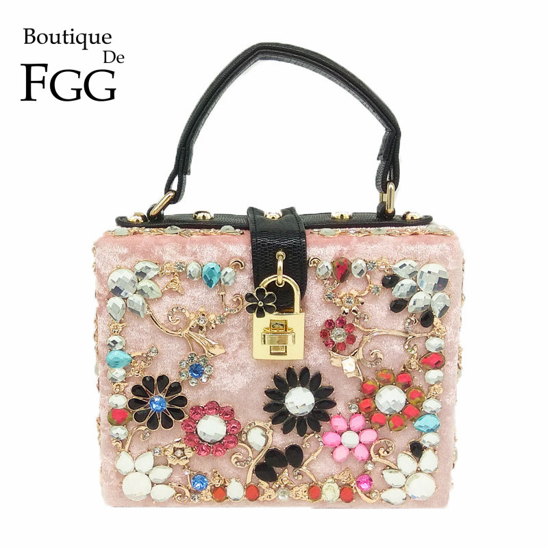 Boutique De FGG Pink Velour Crystal Flower Women Fashion Handbag Box Clutch Top Handle Totes Purse Shoulder &amp; Crossbody Bag<br>