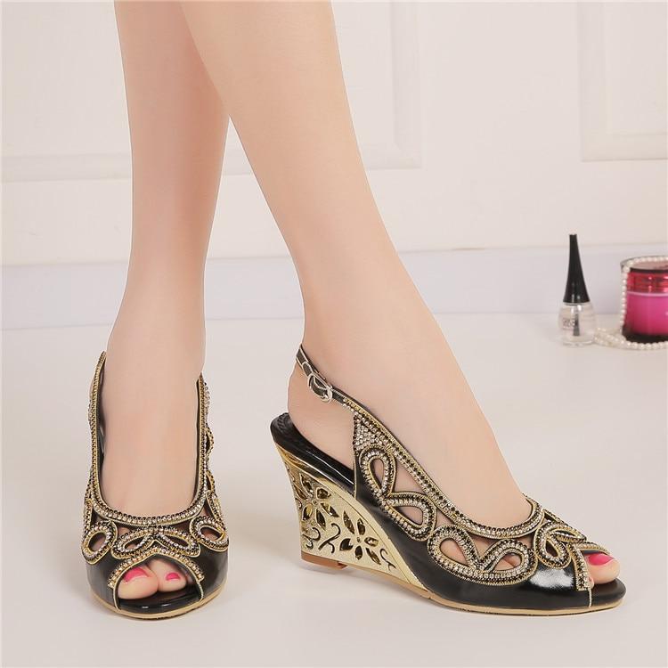2017 Summer New Diamond Fashion Womens Black Peep Toe Wedges Bridal Sandals Wedding Shoes High Heels Cause Footwear-1