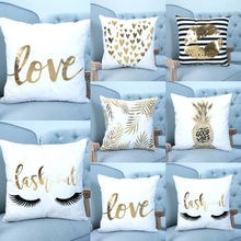 Bronzing Cushion Cover Gold Printed Pillow Cover Decorative Pillow Case Sofa Seat Car Pillowcase Soft Wholesale(China)