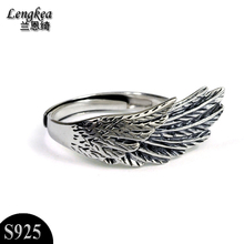 Free shipping,925 silver opening ring pinky ring girls/boys thai silver accessories,single wing pattern,Nightclub accessories(China)