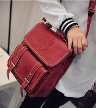 Free Shipping Burgundy Multi-purpose Collage Wind Retro Trend All-match Message Shoulder Bag