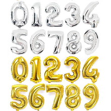 16 or 32 inch Gold Silver Number Foil Balloons Digit Party Balloons Happy Birthday Wedding Decoration Letter Balloon Helium