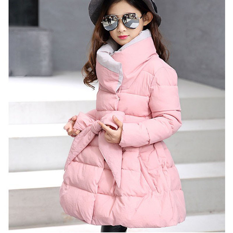 big baby girls coats dress warm clothes cotton padded long jacket kids girl winter 2017 new thick pink purple black children top<br>