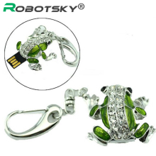 Free Shipping Cute Frog USB Flash Drive 32GB Diamond Pen Drive 16GB 8GB 4GB 2GB 128MB Pendrive Memory Sticj USB 2.0 U Disk