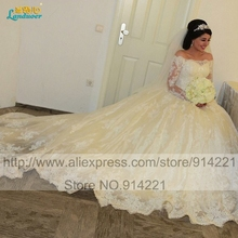 Fluffy Ball gown Long train Wedding Dresses 2016 Long sleeves Lace Corset Wedding gown Robe De Marriage Elegant Bridal Dress