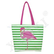 1PC Rose Vintage Flamingo Print Custom Individual Reusable Foldable Shopping Bag Oxford cloth handbag shoulder Tote Bag