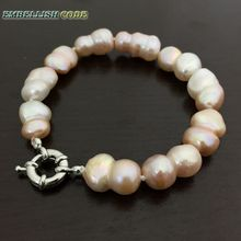 selling well bracelet Baroque style Irregular Peanut shape light pink real freshwater pearl bangle make knots white fine jewelry(China)