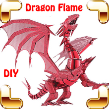 New Arrival Gift Dragon Flame 3D Metal Model Fantasy Figure Collection DIY Assemble Alloy Toys Education Steel Model IQ Present
