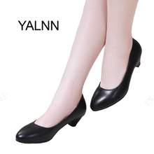 YALNN Women Shoes 3cm Black High Heels Zapatos Mujer Pump for Mature Women New Fashion Shoes Office Lady Dress(China)