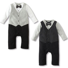 Newborn to 18M Cool Baby Kids Boy Bow Tie Tuxedo Suit Romper Jumpsuit Outfit LY9