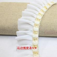 4yards/pack 2inch white/black chiffion cloth and gold thread decoration lace ruffled trims diy decoration accessary Z018(China)