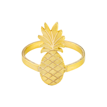 Summer Ananas Fruit Rings For Women Adjustable Bijoux Stainless Steel Handmade Pineapple Ring Jewelry Beach Party Accessories