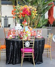 120'' Round Black Sequin Tablecloth,wholesale Wedding Beautiful Sequin Table Cloth / Overlay /Cover(China)