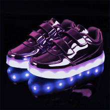 BBX Brand USB Kids LED Shoes Fashion LED Sneakers Children's Breathable Sport Lighted Luminous Boys Girls Shoes Free Shipping