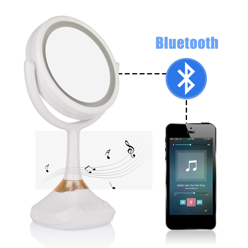 Makeup Lamp Mirror Bluetooth Speaker LED Touch Screen Beauty 1X/5X Magnifying Luminous USB Rechargeable Cosmetic Vanity Tabletop<br>