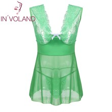 IN'VOLAND Plus Size Women Nightgown Lingerie Sexy Backless Dress L-4XL Exotic Sleepwear G-string Mesh Babydoll Chemises Big Size(China)