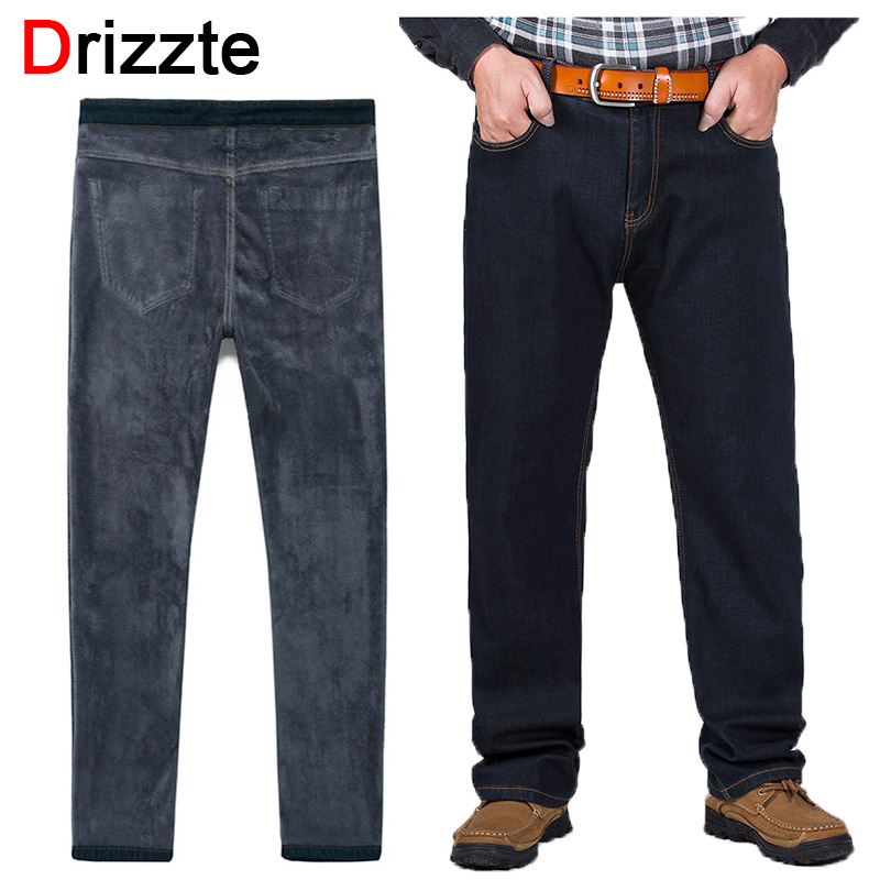 Drizzte Plus Size 32-52 Jeans Winter Thicken Thermal Fleece Lined Stretch Denim Jeans Jean Trousers Pants 38 40 42 44 46 48Одежда и ак�е��уары<br><br><br>Aliexpress