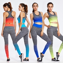 2017 Two Piece Yoga Sets Gym Fitness Clothing Women Training Running jogging Suit Workout Tight Activewear Sports Wear Promotion