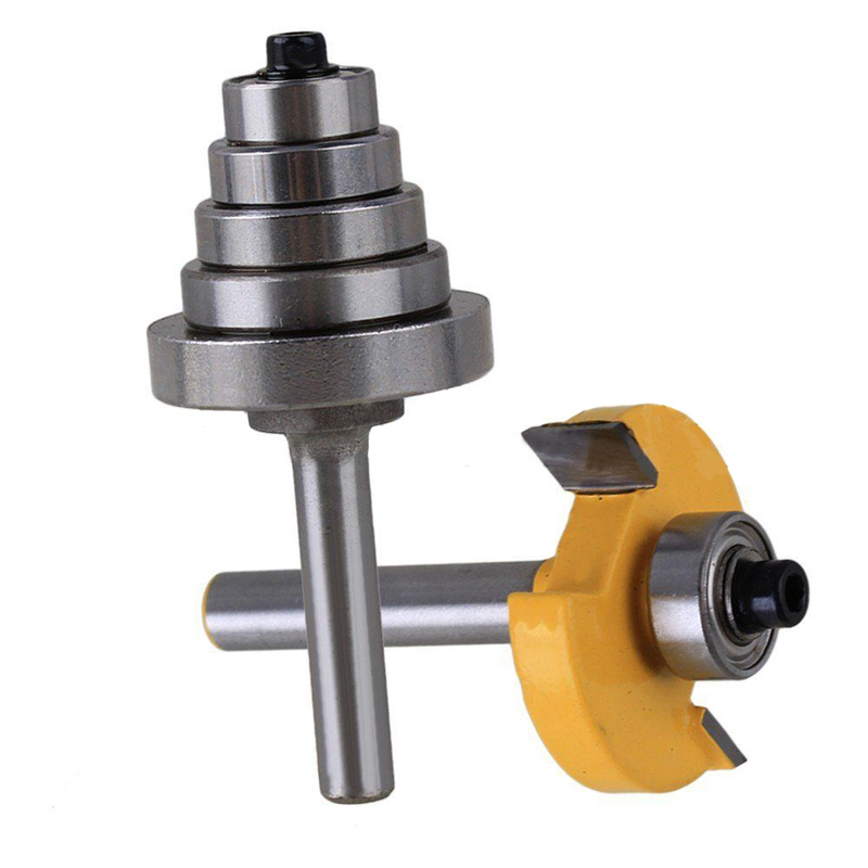 1pc 1/4 Shank Cemented Rabbet Carbide Router Bit with 6 Bearing For Woodworking Cutter Power Tool<br>