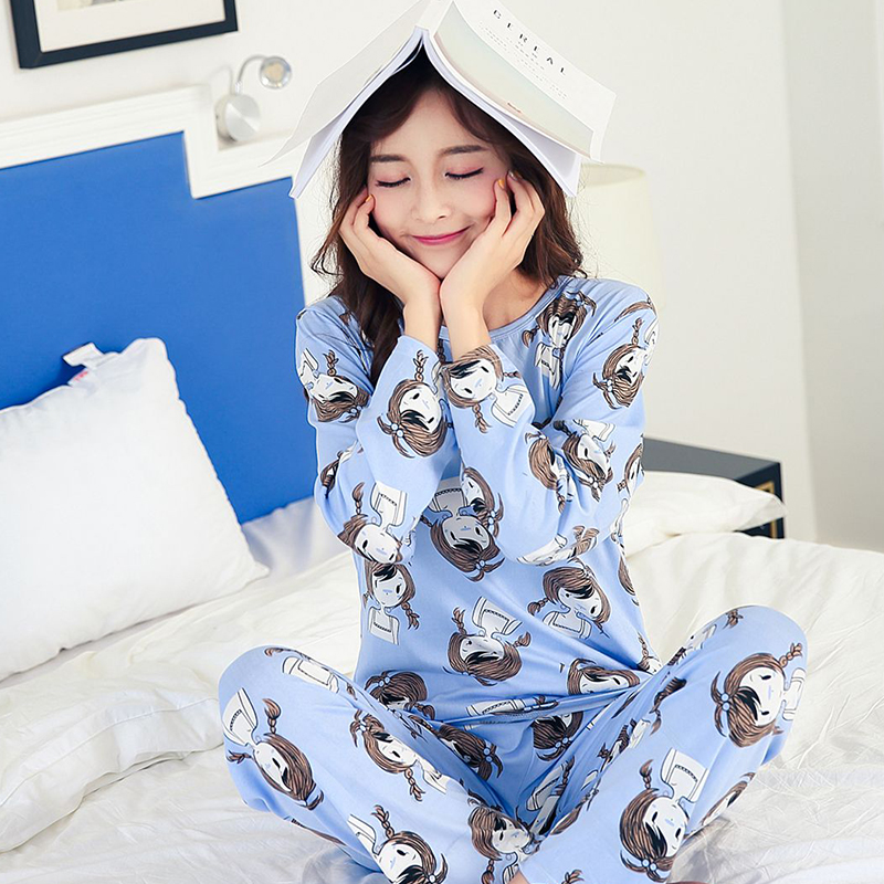 Free Shipping 2017 Autumn Winter 100 % High Quality Hello Kitty Cat Full Cute Pyjamas Pajamas For Women Home Clohtes(China)