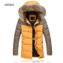 Winter Jacket Mens White Duck Jackets Men Coat Patchwork 5XL Fur Collar Jacket Mens Feather Jacket Male Parka Homme
