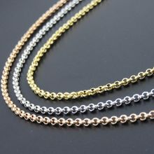 2.5mm Gold-Color Rolo Chain, Rose Gold Color Stainless Steel O Necklace, Fashion Women Pendant Necklace, Customizes Jewelry