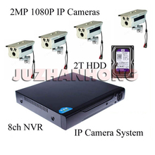 8CH NVR 2MP 1080P HD Night Vision IP Surveillance Camera Kit CCTV Security Camera System PC App Remote View(China)