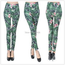 Free shipping Micro Fiber The green series Orchid grass printed Legging Hot sell 2015 New Arrive sexy pants For Women bigelastic
