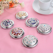 Silver Metal Makeup Mirror Fashion Bling Mini Round Hand Mirrors Double-Side Folding PocketS Mirror Vintage Beauty Tool 7cm 2017