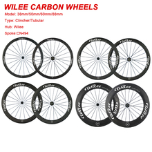 WILEE 700C 38mm 50mm 60mm 88mm depth Tubular Clincher Carbon Wheelset Racing Bicycle Road Bike Cycling Carbon Wheels China Wheel(China)