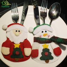 3 Pcs/lot Christmas Tableware Bags Dining Restaurant Table Decoration Knife Fork Holder Santa Claus Christmas Kitchen Decor